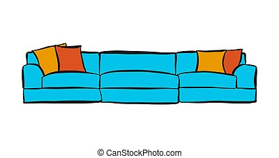 comfortable couch with three parts. hand-drawn vector...