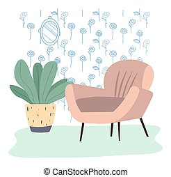 Comfortable flesh color couch and flower in a vase. Furniture for interior design flat vector illustration. Sofa against the background of a pattern of various flowers. Furniture model made of wood