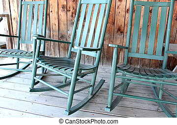 Comfortable green rocking chairs