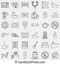 Comfortable house icons set, outline style