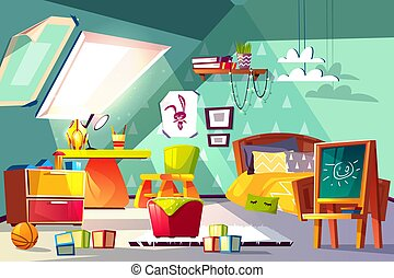 Comfortable kids room on mansard cartoon vector