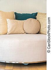 Comfortable pillow on sofa decoration interior