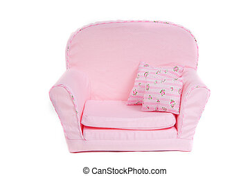 Comfortable Pink armchair with two pillows on it