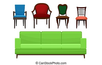 Comfortable Sofa and Chairs Collection, Home Furniture, Interior Design Elements Vector Illustration