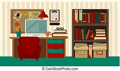 Comfortable workplace in house colorful vector flat illustration