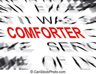 comforter, テキスト, フォーカス, blured