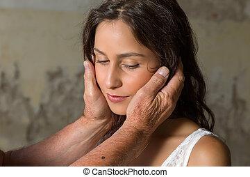 Comforting hands sad girl