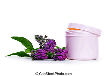 Comfrey cream with fresh Symphytum Officinale plant isolated...