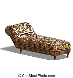 comfy chaiselon with african design - comfort divan bed with...