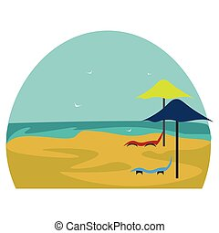 Comfy deckchairs vector or color illustration