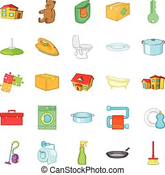 Comfy icons set, cartoon style - Comfy icons set. Cartoon...