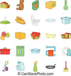 Comfy icons set, cartoon style - Comfy icons set. Cartoon...