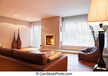 Comfy living room with fireplace
