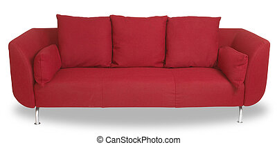 comfy red couch sofa isolated on white with clipping path -...