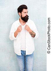 comfy, semplice, indossare, shirt., barba, uomo, fashion., concept., collection., bianco, abbigliamento uomo, bello, barbuto, hipster, outfit., estate, maturo, moda, model., casuale, vacanza, clothes.