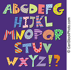 Comic alphabet - Colorful patterns comic alphabet
