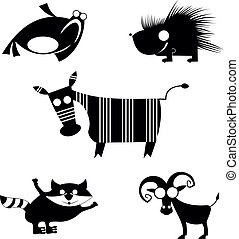 comic animal silhouettes