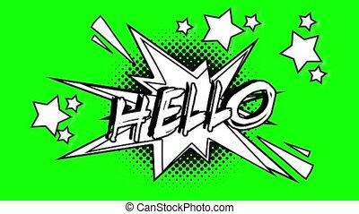 Comic animated word hello. Green screen
