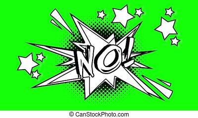 Comic animated word no. Green screen