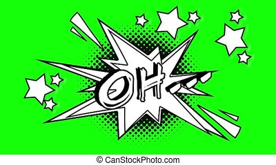 Comic animated word oh. Green screen