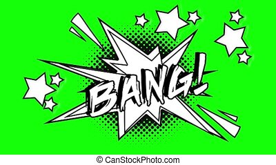Comic animation of the word bang flies like a screensaver....