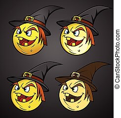 Halloween Witch Smiley Set