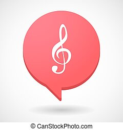 Comic balloon icon with a g clef