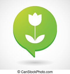 Comic balloon icon with a tulip