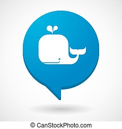 Comic balloon icon with a whale