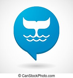Comic balloon icon with a whale tail