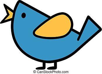 Comic bird singing