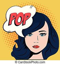 comic blue hair girl bubble speech pop art
