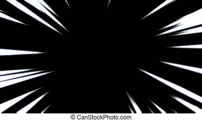 """""""Comic book black and white radial lines background. Manga speed frame. Superhero action. Explosion. Seamless loop."""""""