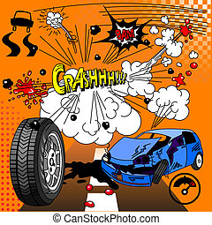 Comic book crash explosion - Illustration of comic elements...