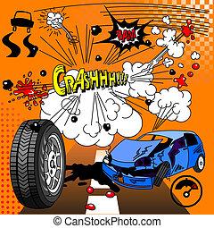 Comic book crash explosion