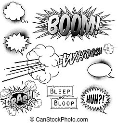 Comic Book Design Elements - A set of black and white comic...