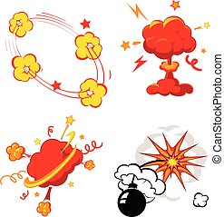 Comic Book Explosion, Bombs And Blast Set, cartoon fire bomb, bang and exploding symbols