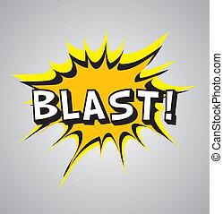 Comic book explosion bubble, vector illustration, blast