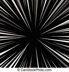 Comic book explosion superhero pop art style black and white radial lines background. Manga or anime speed frame