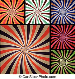 Comic book explosion superhero pop art style colored radial lines background.
