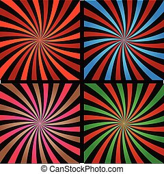Comic book explosion superhero pop art style colored radial lines background. Manga or anime speed frame