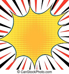 Comic book explosion superhero pop art style radial lines...