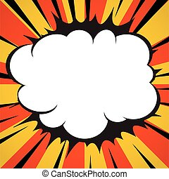 Comic book explosion superhero pop art style radial lines background.