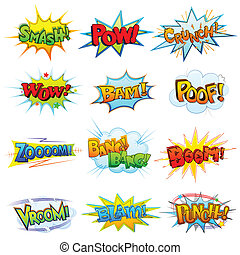 Comic Book Explosion - vector illustration of collection of...