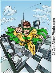 Comic Book Flying Superhero City