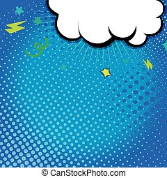 Comic book illustration with explosion on top. Vector