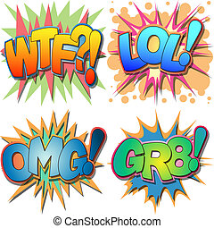 A Selection of Comic Book Abbreviations and Acronym Illustrations, WTF, LOL, OMG, GR8 What the Fuck, Laugh Out Loud, Oh My God, Great