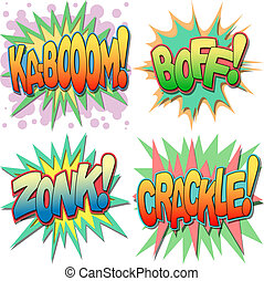 A Selection of Comic Book Exclamations and Action Words, Kaboom, Boff, Zonk, Crackle.