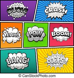 Comic book page divided by lines with black and white speech bubbles, sounds effect. Retro background Mock-up. Comics template. Vector illustration