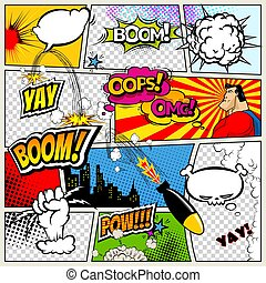 Comic book page divided by lines with speech bubbles, rocket, superhero and sounds effect. Retro background mock-up. Comics template. Vector illustration.
